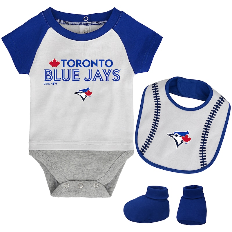 Toronto Blue Jays Newborn Baseball Kid Bodysuit, Bib & Booties Set - White