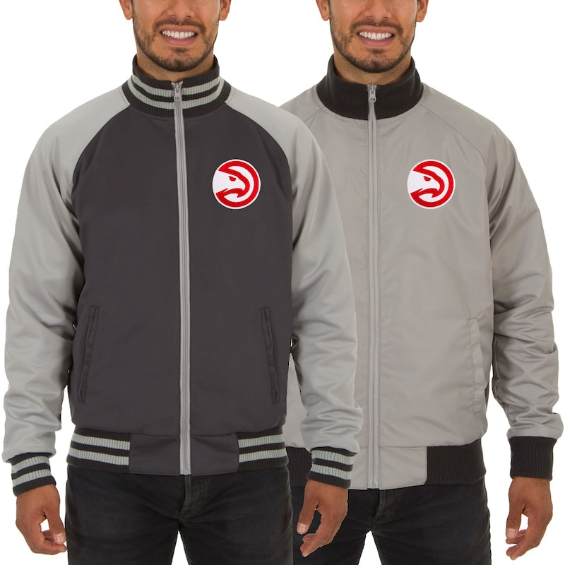 Atlanta Hawks JH Design Reversible Track Jacket - Gray