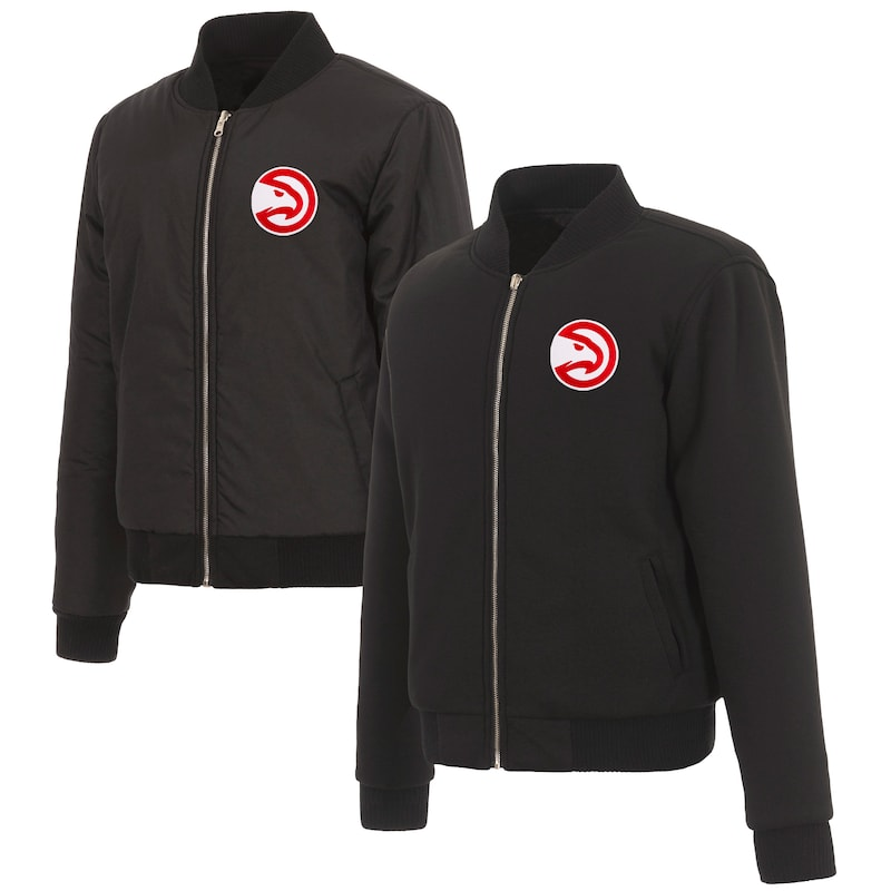 Atlanta Hawks JH Design Women's Reversible Jacket with Fleece and Nylon Sides - Black