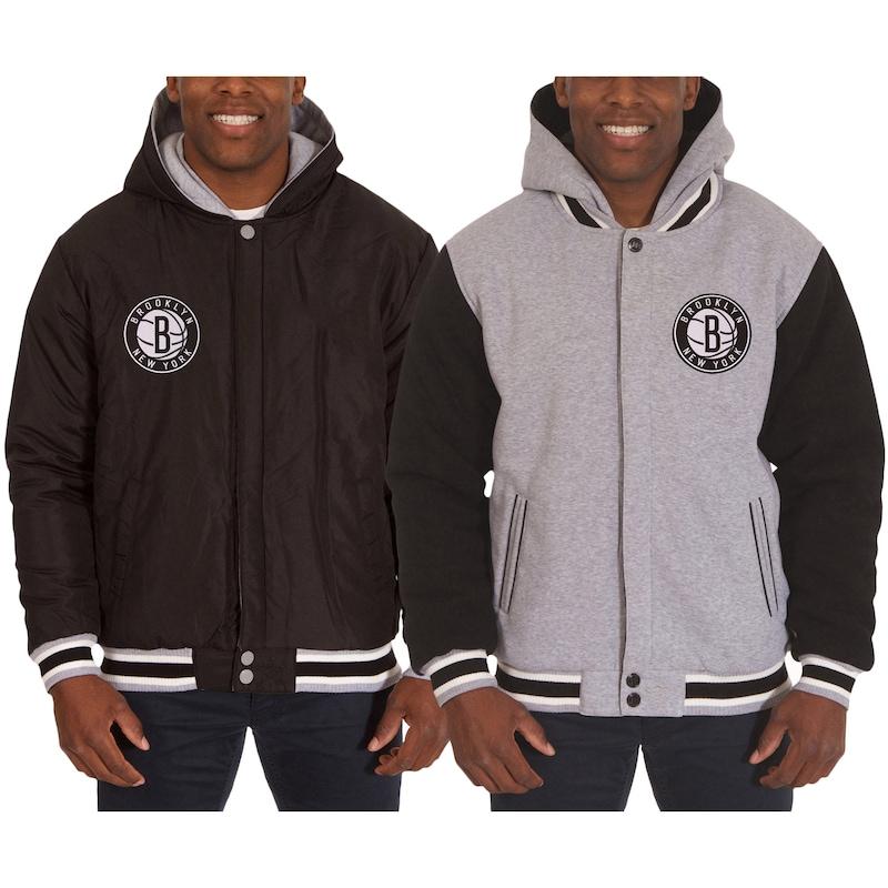 Brooklyn Nets JH Design Two-Tone Reversible Fleece Hooded Jacket - Black/Gray