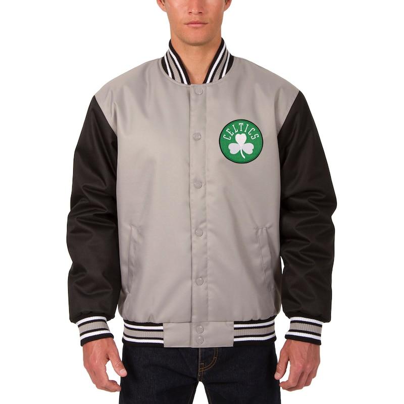 Boston Celtics JH Design Poly Twill Logo Jacket - Gray