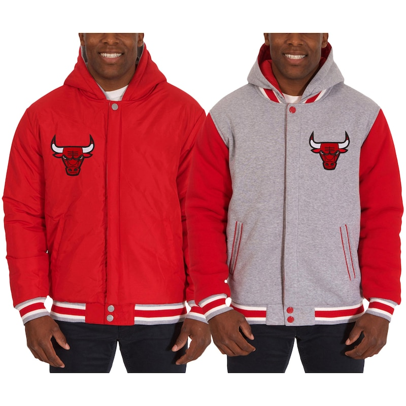 Chicago Bulls JH Design Two-Tone Reversible Fleece Hooded Jacket - Red/Gray