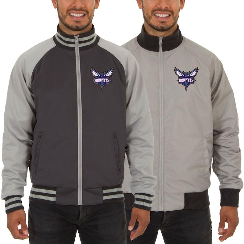 Charlotte Hornets JH Design Reversible Track Jacket - Gray