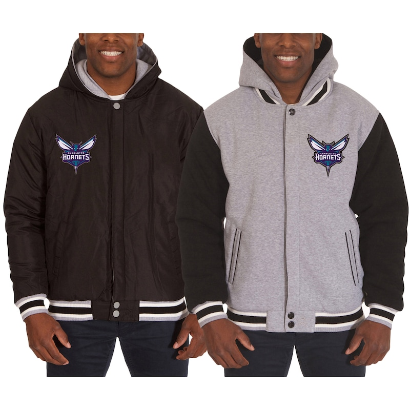 Charlotte Hornets JH Design Two-Tone Reversible Fleece Hooded Jacket - Black/Gray