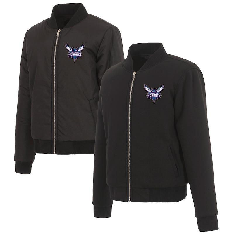 Charlotte Hornets JH Design Women's Reversible Jacket with Fleece and Nylon Sides - Black