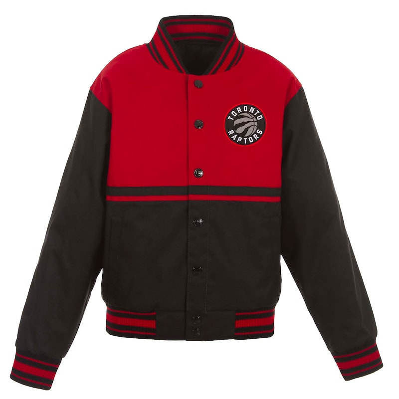Toronto Raptors JH Design Youth Poly-Twill Full-Snap Jacket - Black/Red