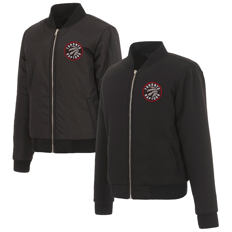 Toronto Raptors JH Design Women's Reversible Jacket with Fleece and Nylon Sides - Black
