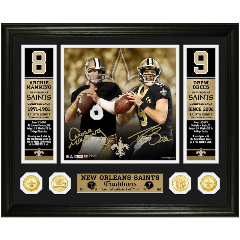 Archie Manning & Drew Brees New Orleans Saints Highland Mint 18'' x 22'' Super Bowl Traditions Bronze Coin Photo Mint