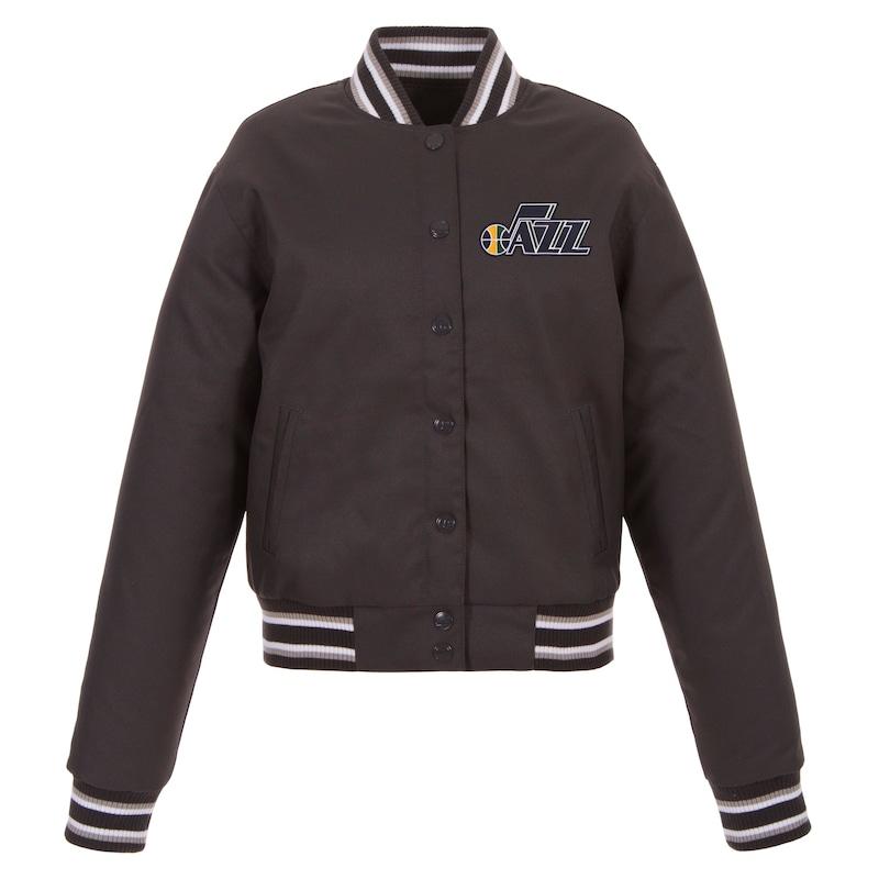 Utah Jazz JH Design Women's Poly-Twill Full-Snap Jacket - Charcoal