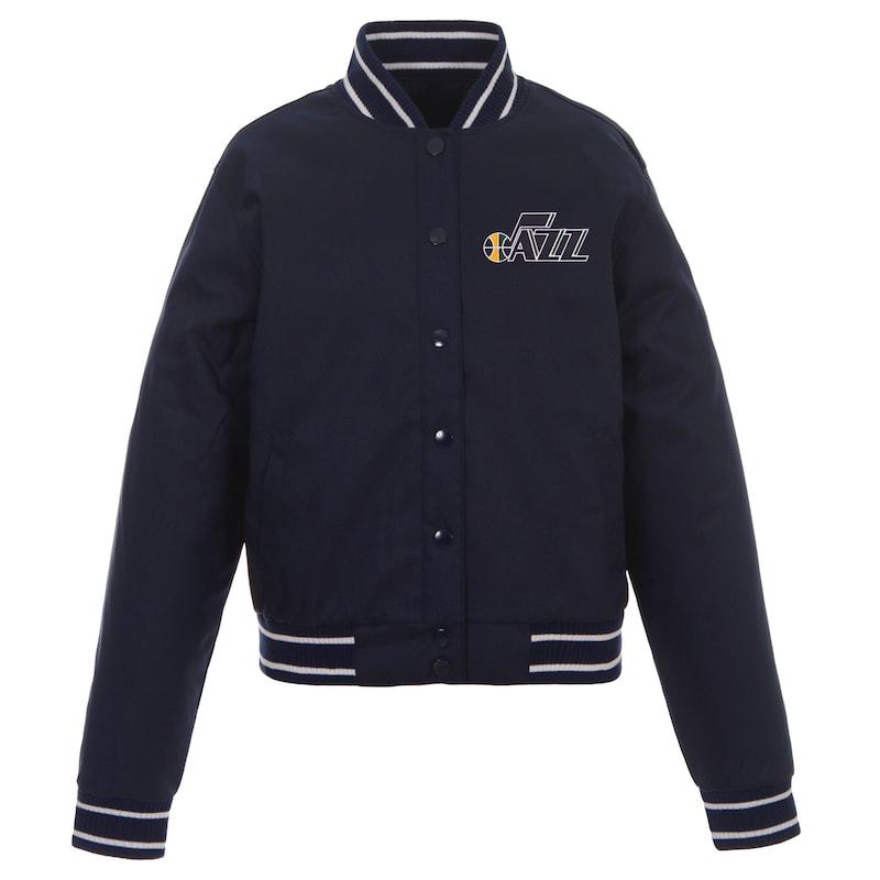 Utah Jazz JH Design Women's Poly-Twill Full-Snap Jacket - Navy