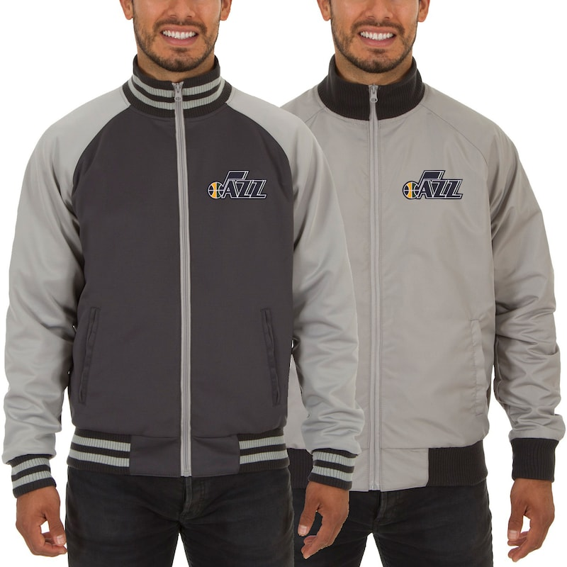 Utah Jazz JH Design Reversible Track Jacket - Gray