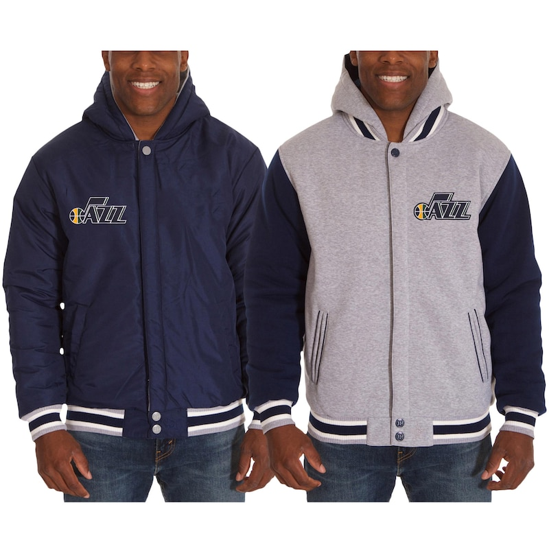 Utah Jazz JH Design Two-Tone Reversible Fleece Hooded Jacket - Navy/Gray