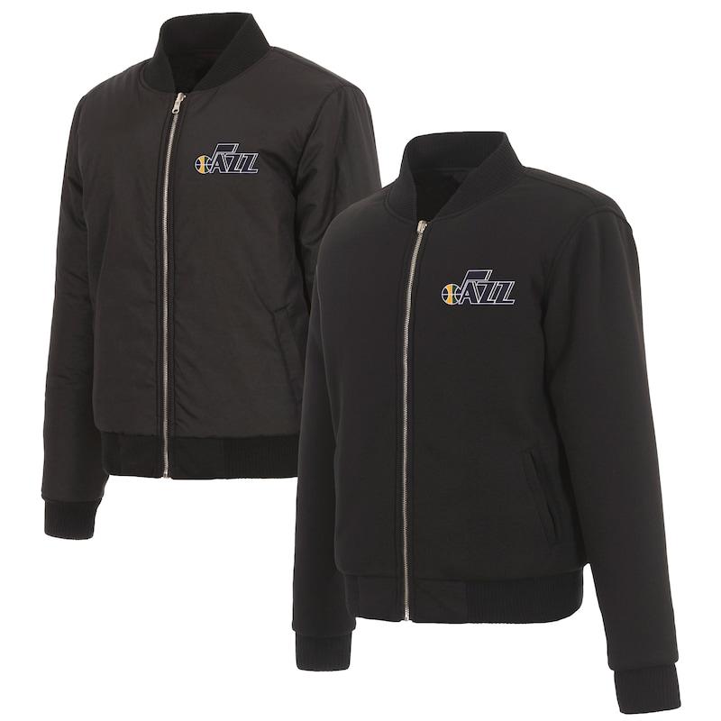 Utah Jazz JH Design Women's Reversible Jacket with Fleece and Nylon Sides - Black