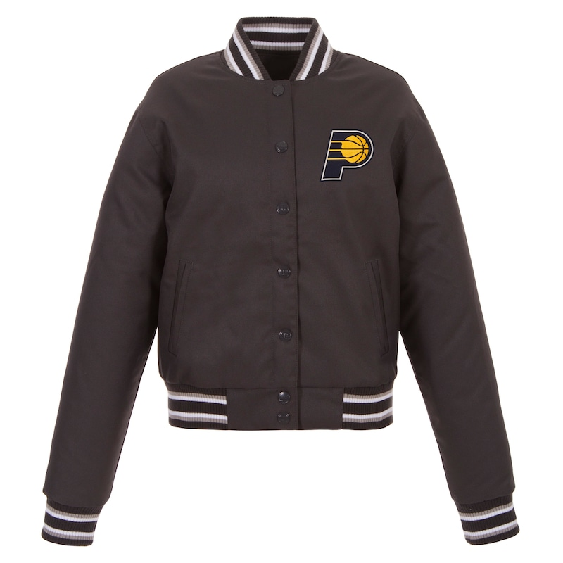 Indiana Pacers JH Design Women's Poly-Twill Full-Snap Jacket - Charcoal