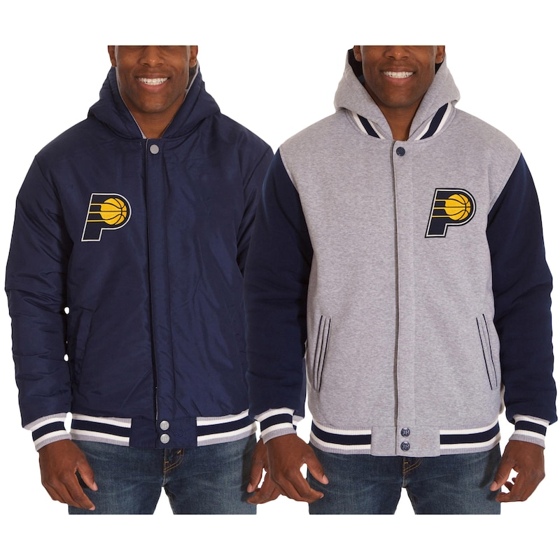 Indiana Pacers JH Design Two-Tone Reversible Fleece Hooded Jacket - Navy/Gray