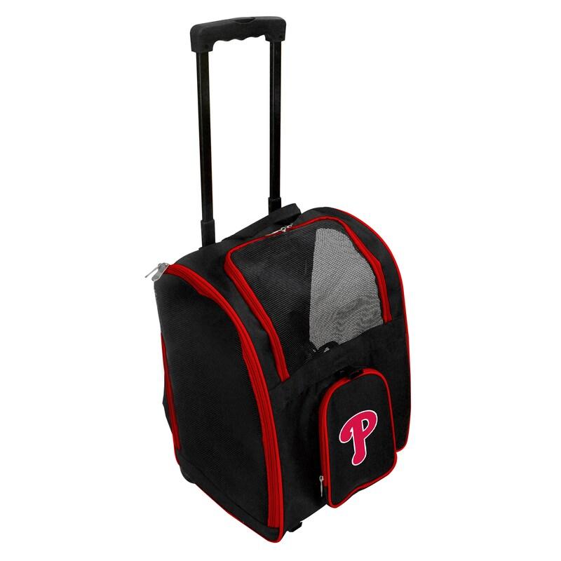 Philadelphia Phillies 2-Wheeled Roller Pet Carrier - Black