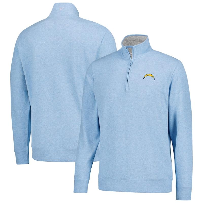 Los Angeles Chargers Vineyard Vines Saltwater Solid Quarter-Zip Pullover Jacket - Light Blue