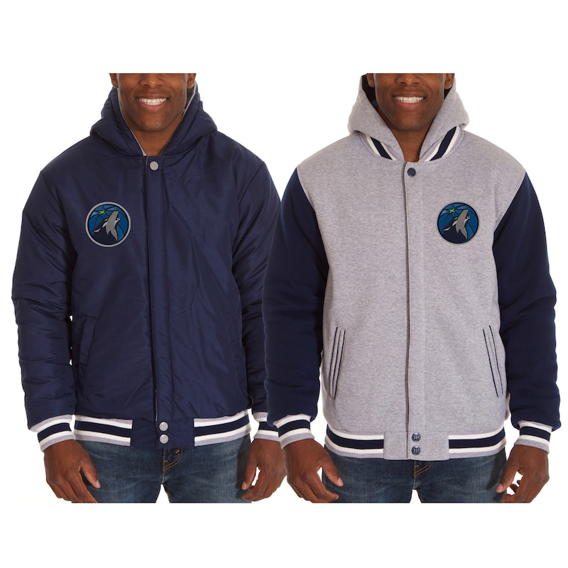 Minnesota Timberwolves JH Design Two-Tone Reversible Fleece Hooded Jacket - Black/Gray