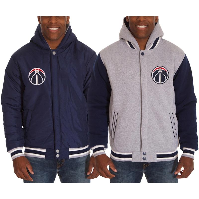 Washington Wizards JH Design Two-Tone Reversible Fleece Hooded Jacket - Navy/Gray