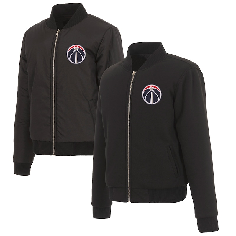 Washington Wizards JH Design Women's Reversible Jacket with Fleece and Nylon Sides - Black