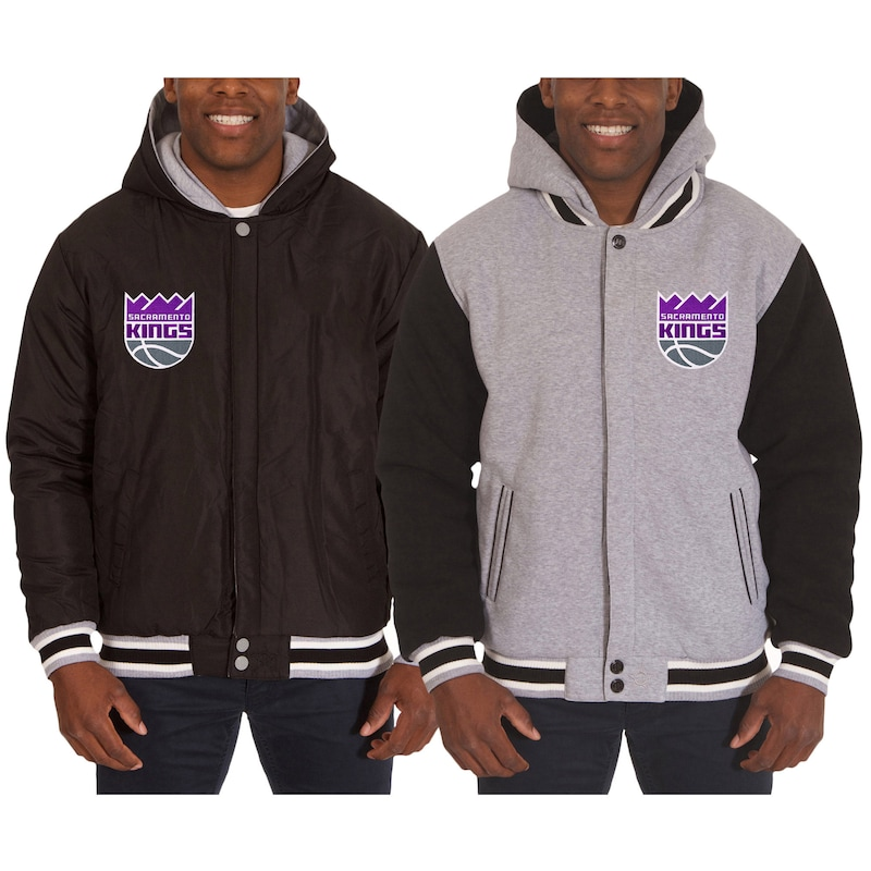 Sacramento Kings JH Design Two-Tone Reversible Fleece Hooded Jacket - Black/Gray
