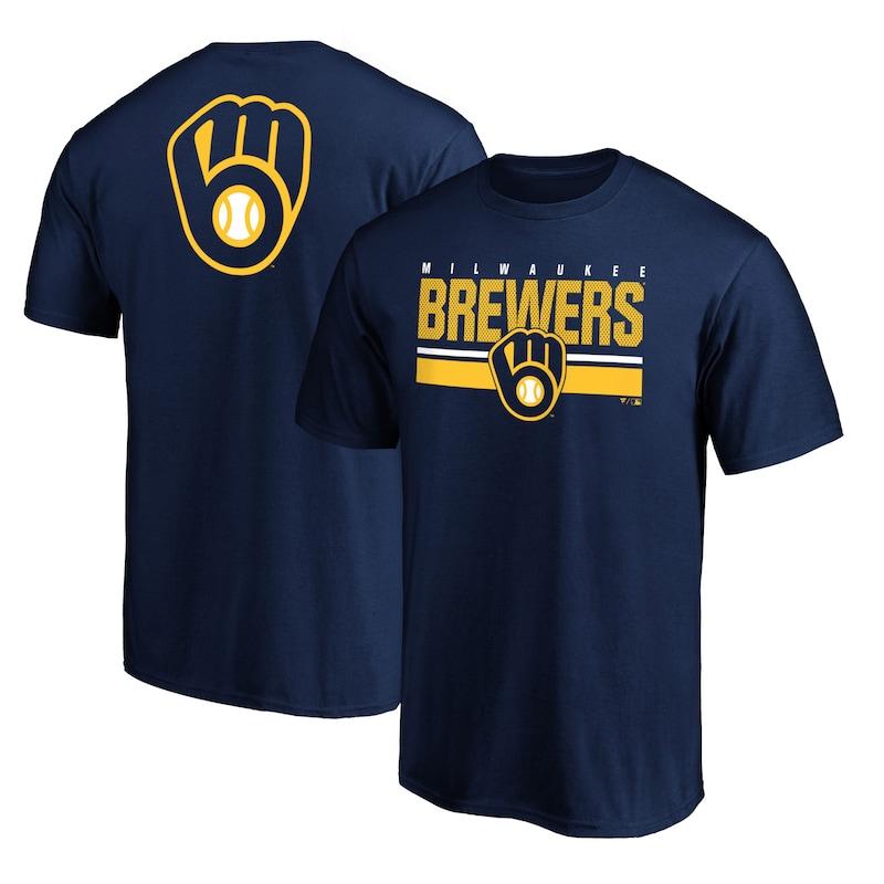 Milwaukee Brewers Fanatics Branded Team Logo End Game T-Shirt - Navy