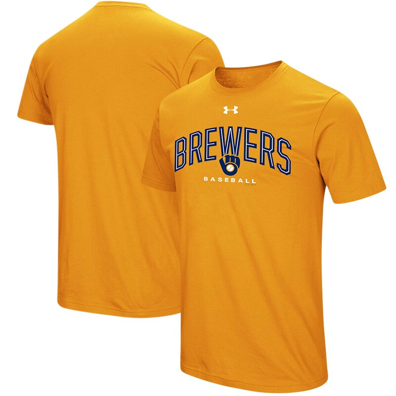 Milwaukee Brewers Under Armour Performance Arch T-Shirt - Gold
