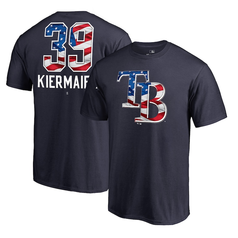 Kevin Kiermaier Tampa Bay Rays Fanatics Branded 2019 Stars & Stripes Banner Wave Player T-Shirt - Navy