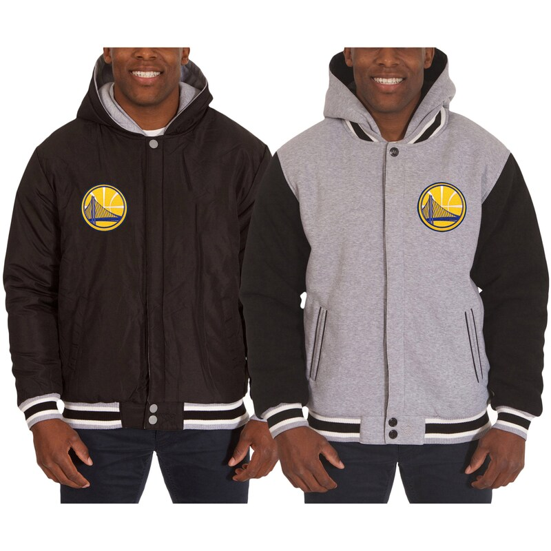 Golden State Warriors JH Design Two-Tone Reversible Fleece Hooded Jacket - Black/Gray