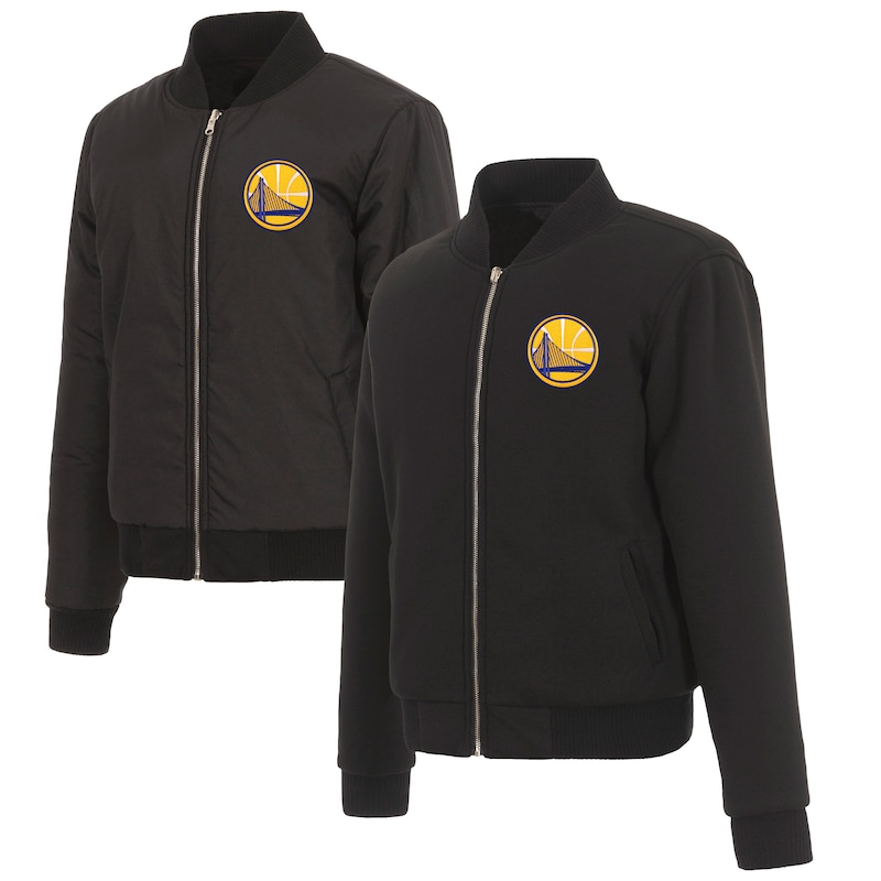 Golden State Warriors JH Design Women's Reversible Jacket with Fleece and Nylon Sides - Black