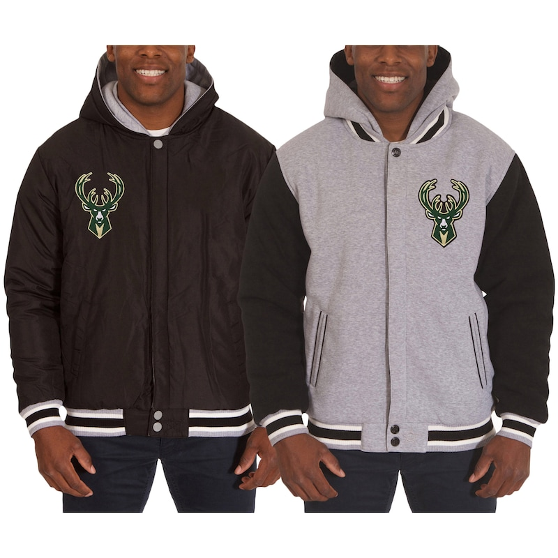 Milwaukee Bucks JH Design Two-Tone Reversible Fleece Hooded Jacket - Black/Gray