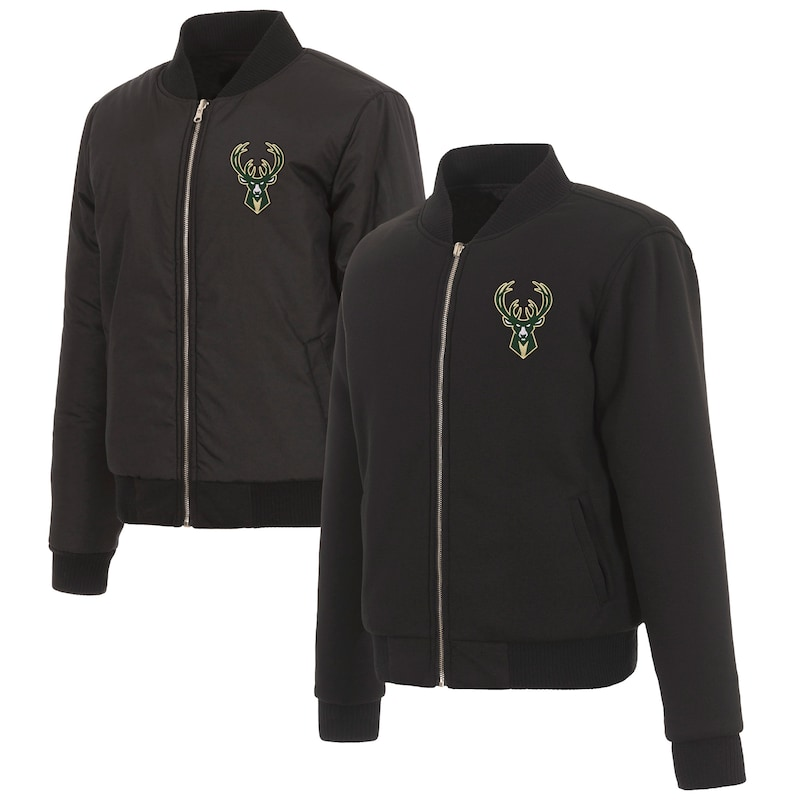 Milwaukee Bucks JH Design Women's Reversible Jacket with Fleece and Nylon Sides - Black