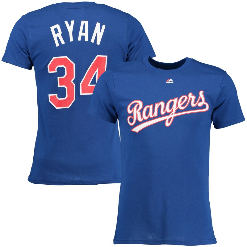 Nolan Ryan Texas Rangers Majestic Cooperstown Player Name & Number T-Shirt - Royal Blue