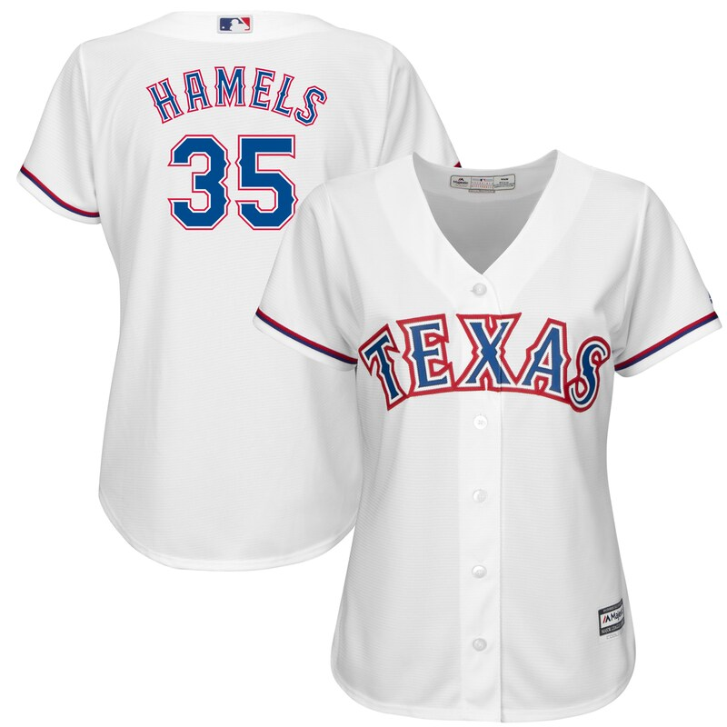 Cole Hamels Texas Rangers Majestic Women's Official Cool Base Player Jersey - White