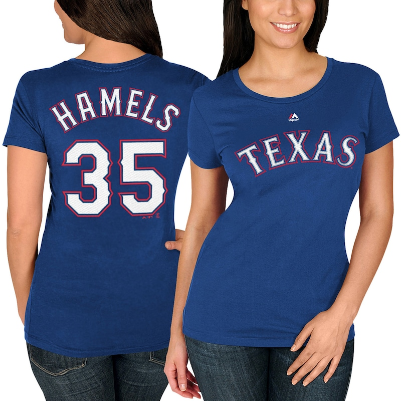 Cole Hamels Texas Rangers Majestic Women's Name & Number T-Shirt - Royal