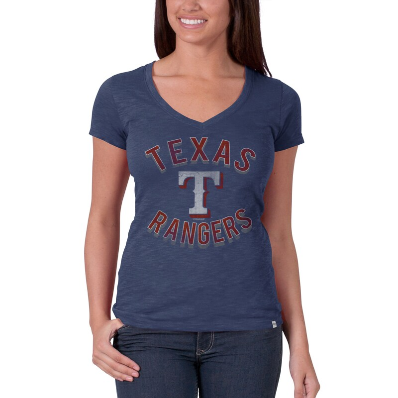Texas Rangers '47 Women's V-Neck Scrum Logo T-Shirt - Royal