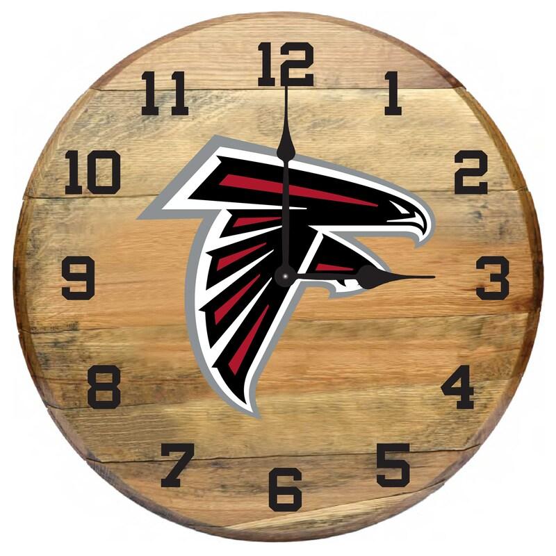 Atlanta Falcons Imperial Oak Barrel Clock
