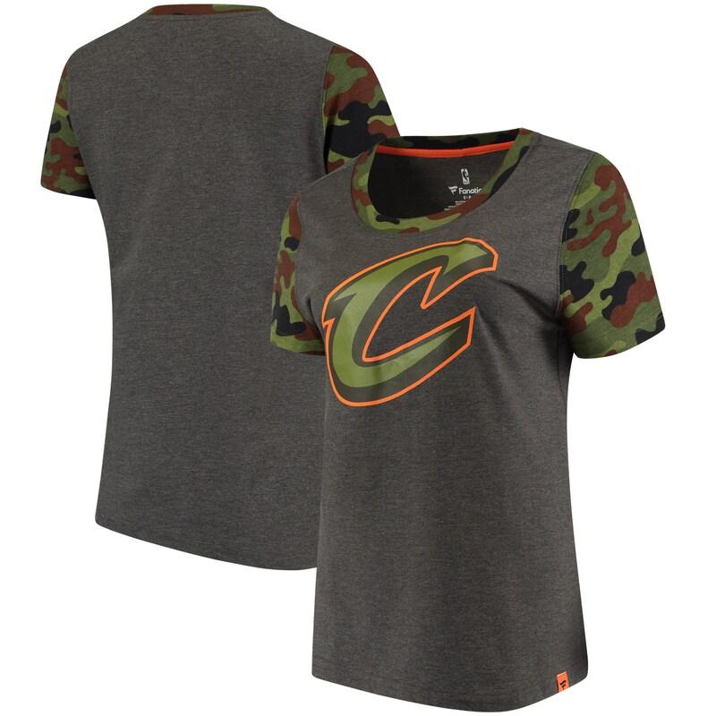 Cleveland Cavaliers Fanatics Branded Women's Recon Camo T-Shirt - Heathered Gray/Camo