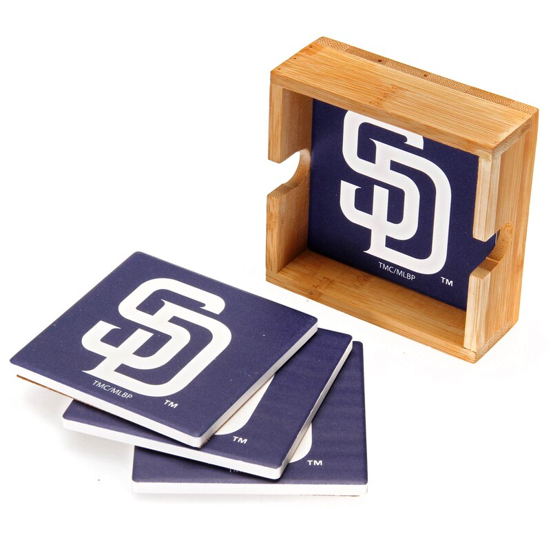 San Diego Padres 4-Pack Square Coaster Set with Caddy