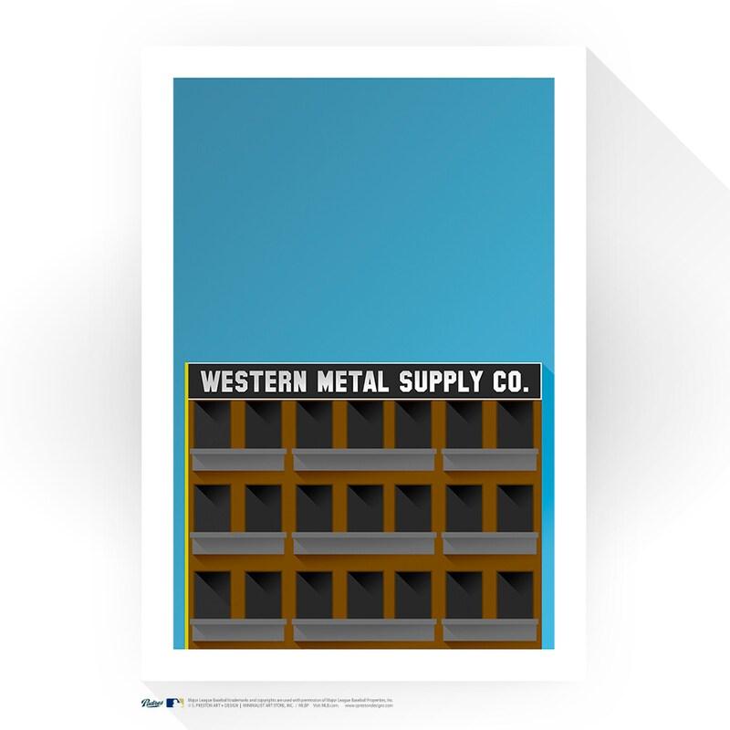 "San Diego Padres 17"" x 26"" Petco Park Western Metal Supply Minimalist Art Giclee Print"