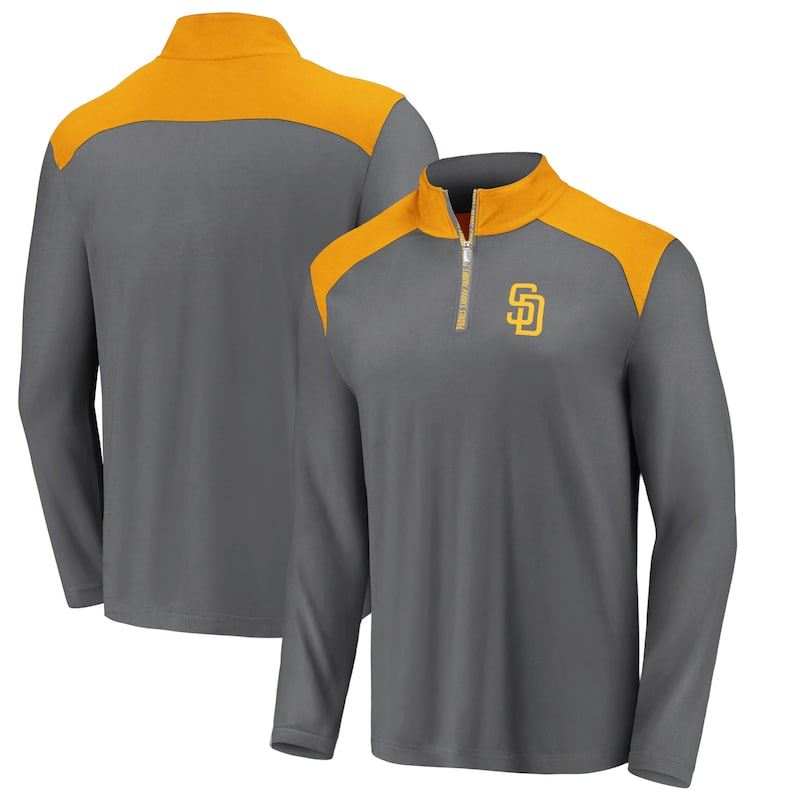San Diego Padres Fanatics Branded Iconic Clutch Quarter-Zip Pullover Jacket - Gray/Gold