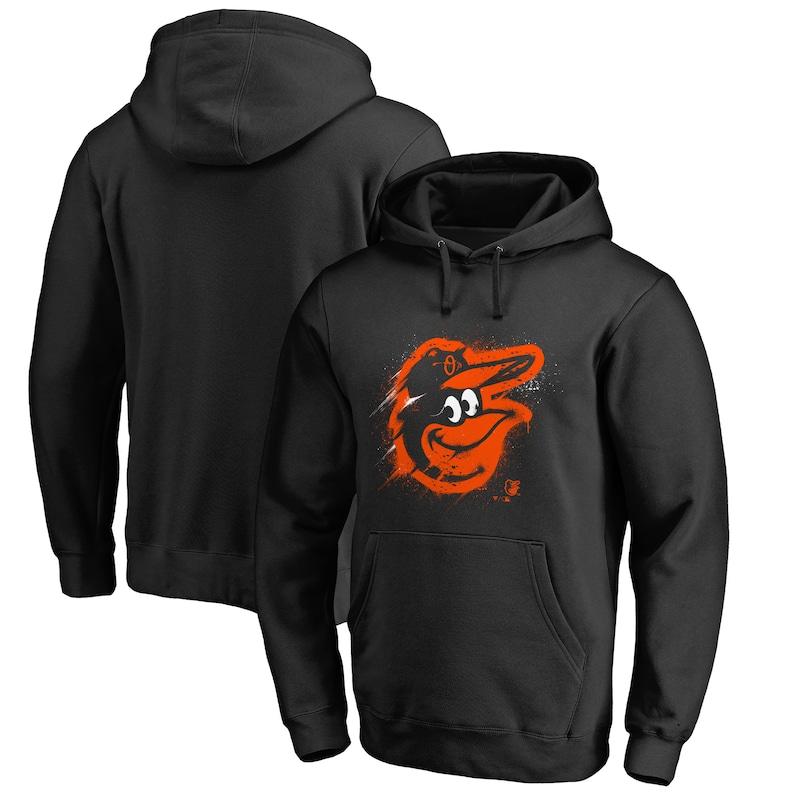 Baltimore Orioles Fanatics Branded Splatter Logo Pullover Hoodie - Black