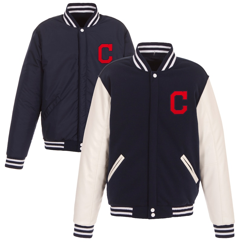 Cleveland Indians JH Design Reversible Fleece Jacket with Faux Leather Sleeves - Navy