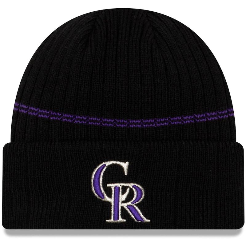 Colorado Rockies New Era Primary Logo On-Field Sport Cuffed Knit Hat - Black