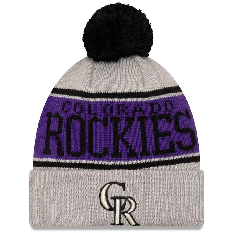 Colorado Rockies New Era Stripe Cuffed Knit Hat with Pom - Gray