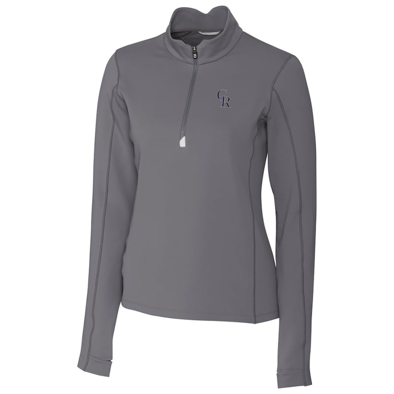 Colorado Rockies Cutter & Buck Women's Traverse Half-Zip Pullover Jacket - Gray