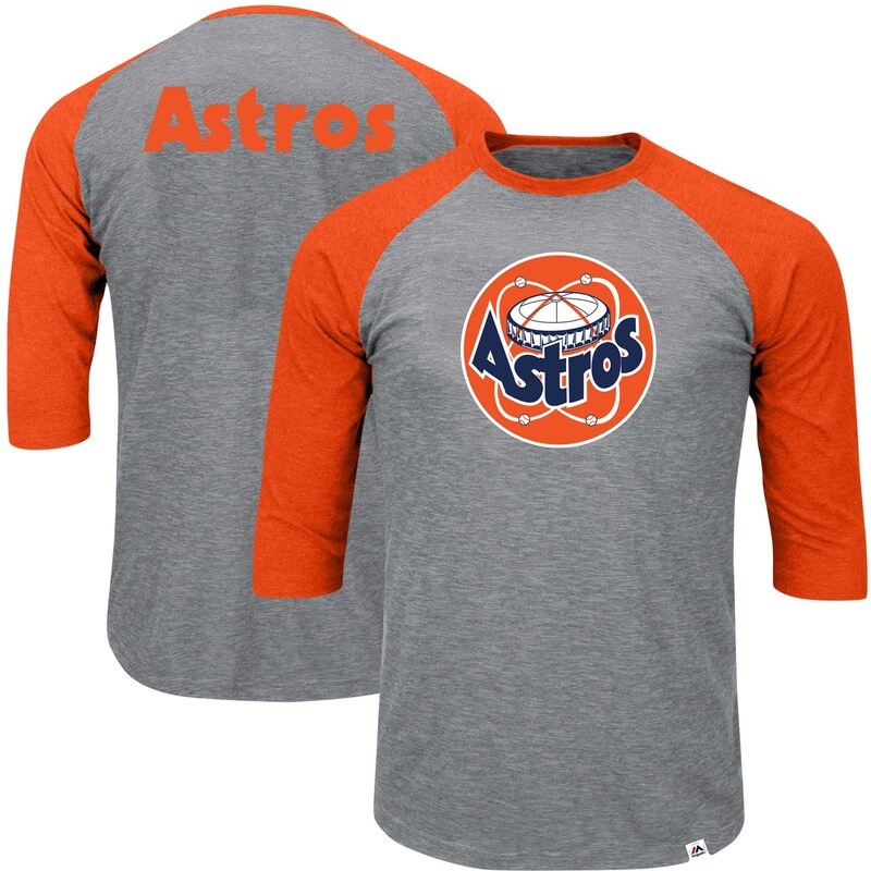 Houston Astros Majestic Big & Tall Cooperstown Collection Raglan 3/4-Sleeve T-Shirt - Heathered Gray/Orange
