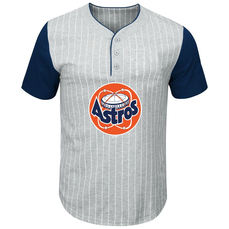 Houston Astros Majestic Big & Tall Cooperstown Collection Pinstripe Henley Raglan T-Shirt - Gray/Navy