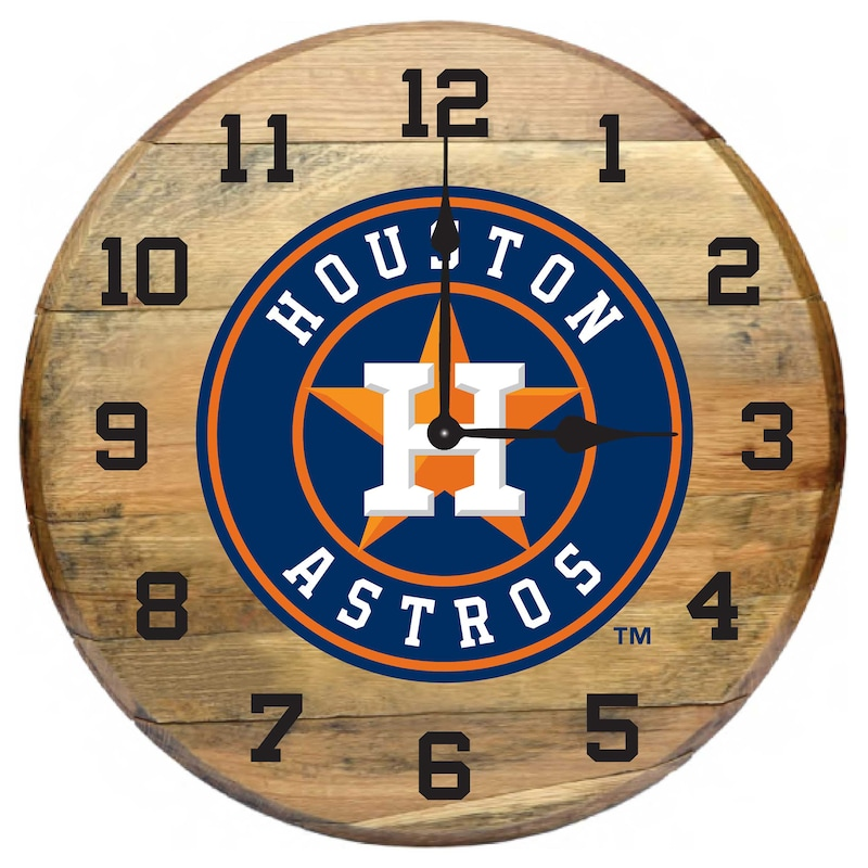 Houston Astros Imperial Oak Barrel Clock