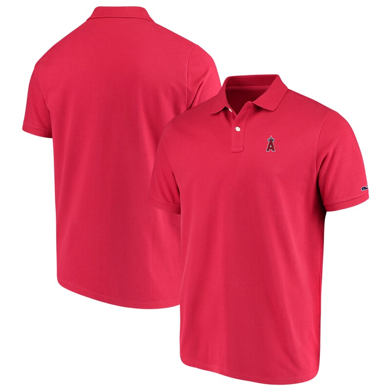 Los Angeles Angels Vineyard Vines Stretch Pique Polo - Red